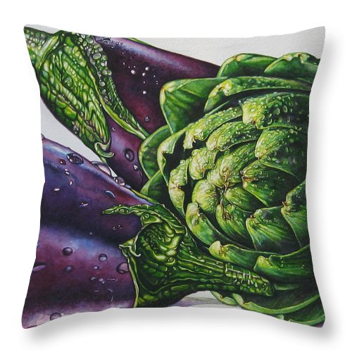 Aubergines And An Artichoke Painting Throw Pillow featuring the painting Aubergines And An Artichoke by Tracy Male