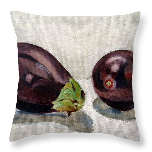 Still-life Throw Pillow featuring the painting Aubergines by Sarah Lynch