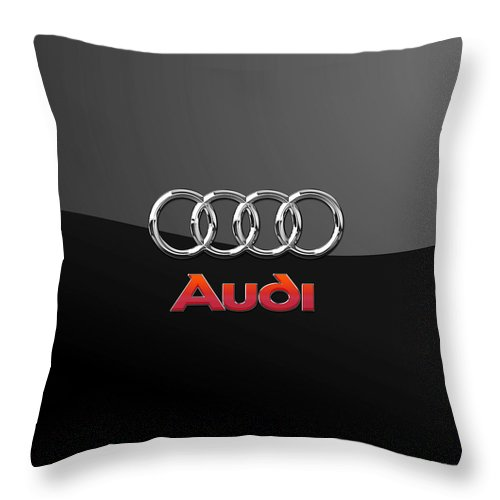 'wheels Of Fortune' Collection By Serge Averbukh Throw Pillow featuring the photograph Audi 3 D Badge On Black by Serge Averbukh