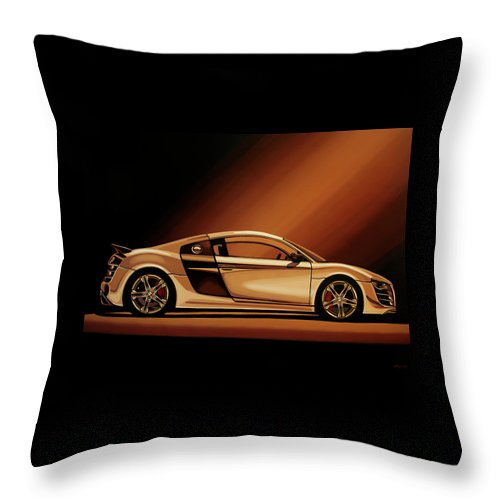 Audi R8 Throw Pillow featuring the painting Audi R8 2007 Painting by Paul Meijering