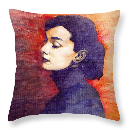 Watercolour Throw Pillow featuring the painting Audrey Hepburn 1 by Yuriy Shevchuk