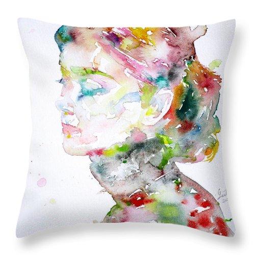 Audrey Hepburn Throw Pillow featuring the painting Audrey Hepburn Watercolor Portrait.13 by Fabrizio Cassetta