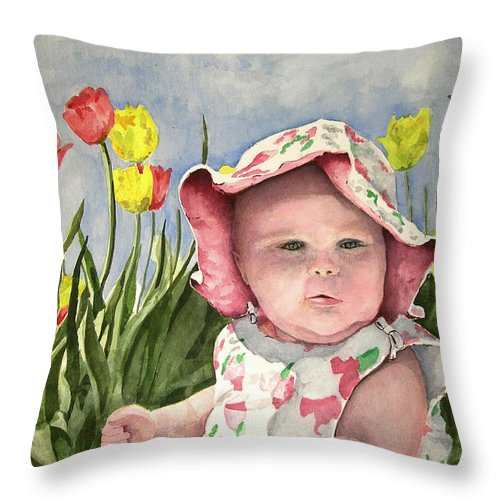 Kids Throw Pillow featuring the painting Audrey by Sam Sidders