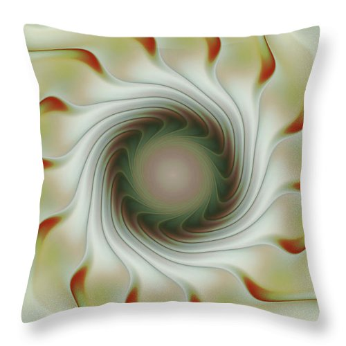 Fractal Art Throw Pillow featuring the digital art Auger Wheel Spin by Deborah Benoit