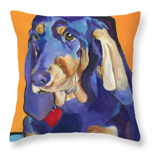 Bloodhound Throw Pillow featuring the painting Augie by Pat Saunders-White