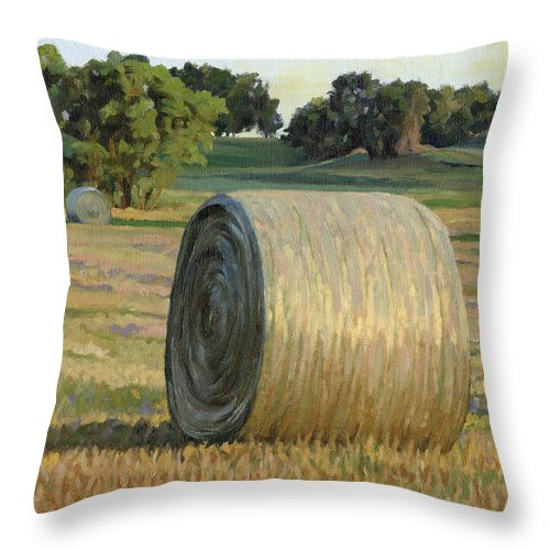 Landscape Throw Pillow featuring the painting August Bales by Bruce Morrison