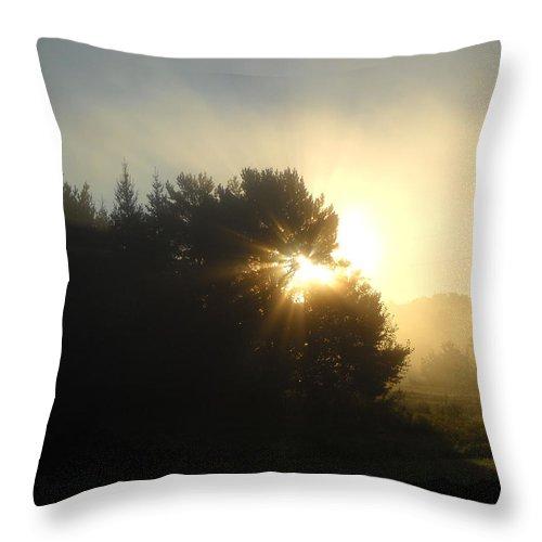 Sunrise Throw Pillow featuring the photograph August Fog Sunrise Light Rays by Kent Lorentzen