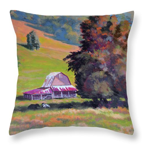 Impressionism Throw Pillow featuring the painting August Pastures by Keith Burgess