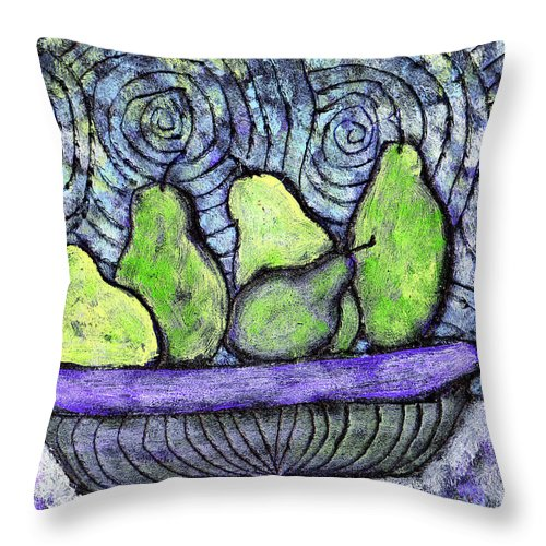 Food Throw Pillow featuring the painting August Pears by Wayne Potrafka