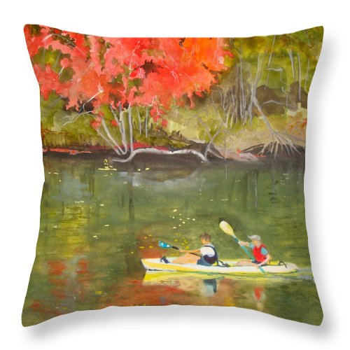 Water Throw Pillow featuring the painting Augusta Canal Number Two by Jean Blackmer