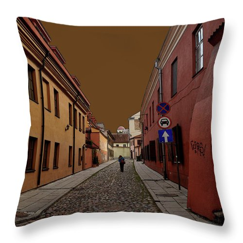 Old City Street Vilnius Lithuania Throw Pillow featuring the photograph Augustojono Street by George St