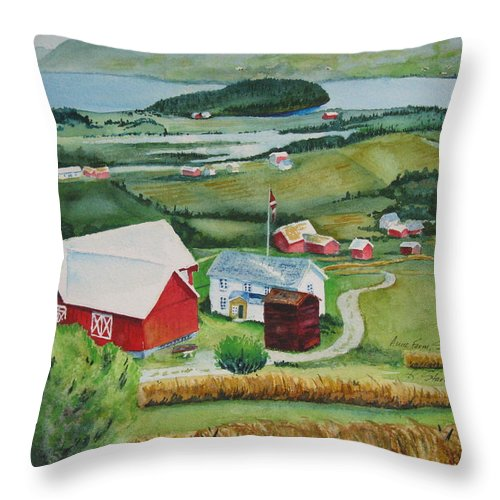 Norway Throw Pillow featuring the painting Aune Farm In Selbu Norway by Karen Stark