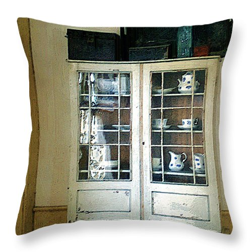 Room Throw Pillow featuring the painting Aunt Mae's China Closet by RC DeWinter