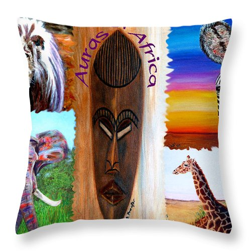Africa Throw Pillow featuring the painting Auras Of Africa by Donna Proctor