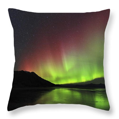 Atmospheric Mood Throw Pillow featuring the photograph Aurora Borealis Milky Way And Big by Joseph Bradley