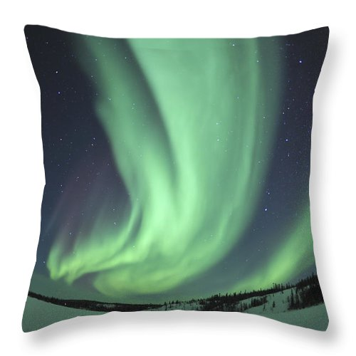 Yellowknife Throw Pillow featuring the photograph Aurora Borealis Over Prosperous Lake by Jiri Hermann