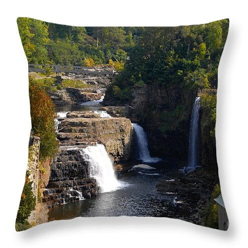 Ausable River Throw Pillow featuring the photograph Ausable Falls by David Lee Thompson