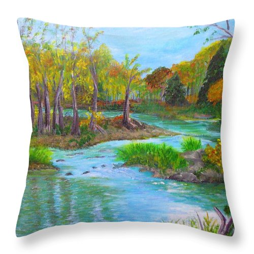 Nature Throw Pillow featuring the painting Ausable River by Peggy King