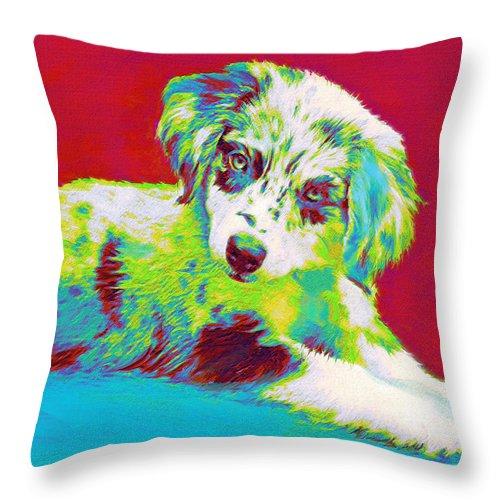 Aussie Throw Pillow featuring the digital art Aussie Puppy by Jane Schnetlage