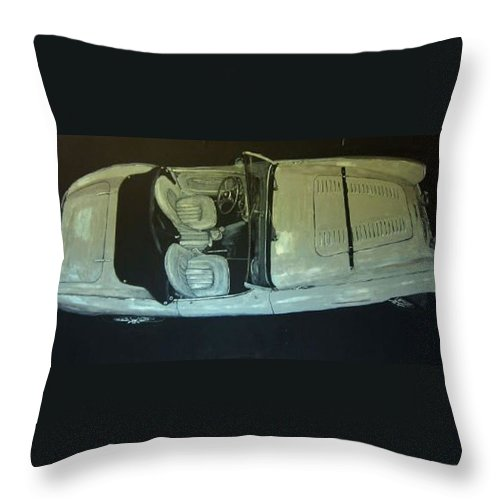 Car Throw Pillow featuring the painting Austin Healy Lm by Richard Le Page