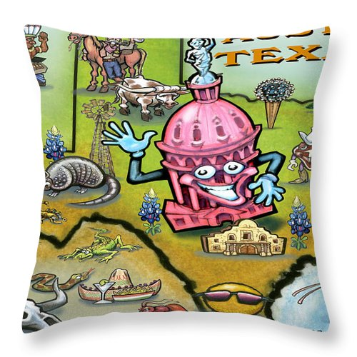 Austin Throw Pillow featuring the digital art Austin Texas Cartoon Map by Kevin Middleton