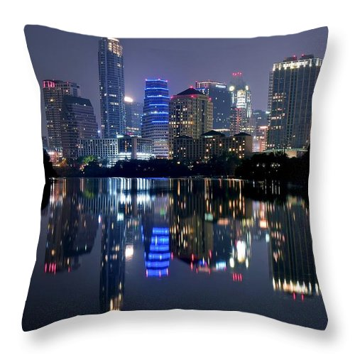 Austin Throw Pillow featuring the photograph Austin Texas Mirror Image by Frozen in Time Fine Art Photography