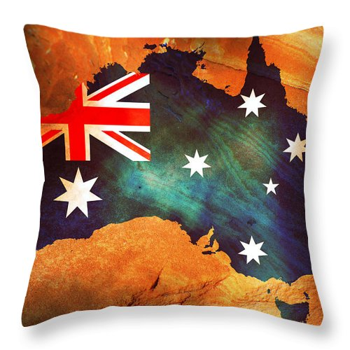 Australia Throw Pillow featuring the photograph Australian Flag On Rock by Phill Petrovic