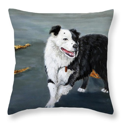 Dogs Throw Pillow featuring the painting Australian Shepard Border Collie by Portraits By NC