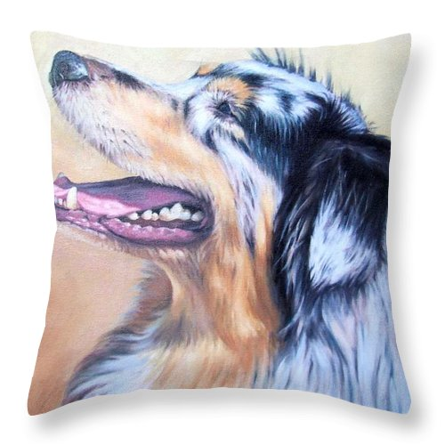 Dog Throw Pillow featuring the painting Australian Shepherd Dog by Nicole Zeug