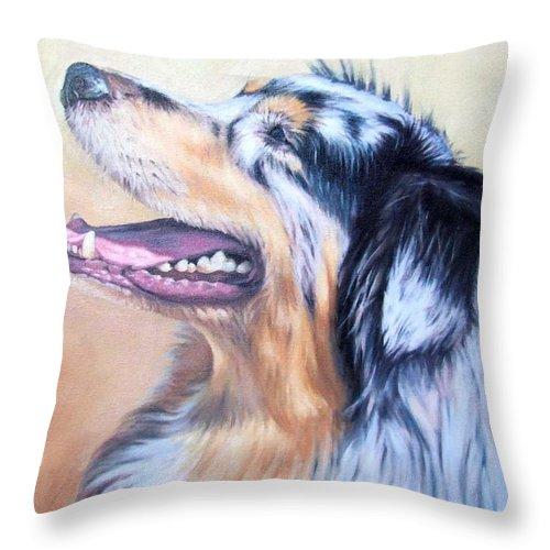 Dog Throw Pillow featuring the painting Australian Shepherd Dog by Nicole Zeug