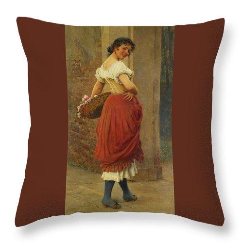 Eugen Von Blaas 1843 - 1931 Austrian A Stolen Glance Throw Pillow featuring the painting Austrian A Stolen Glance by Eugen von Blaas