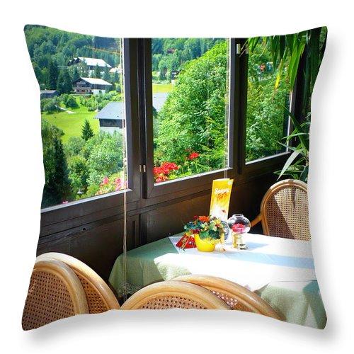 Austria Throw Pillow featuring the photograph Austrian Cafe by Carol Groenen