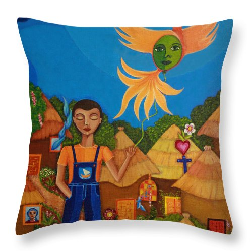 Autism Throw Pillow featuring the painting Autism - A Flight To... by Madalena Lobao-Tello