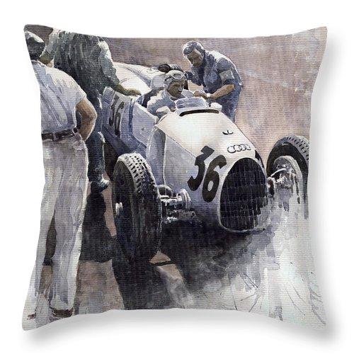 Auto Throw Pillow featuring the painting Auto Union B type 1935 Italian GP Monza B Rosermeyer by Yuriy Shevchuk