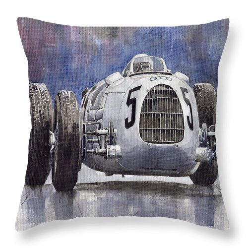 Auto Throw Pillow featuring the painting Auto-union Type C 1936 by Yuriy Shevchuk