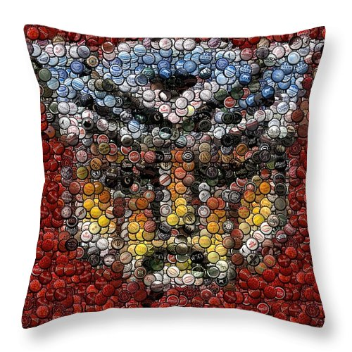 Transformers Throw Pillow featuring the digital art Autobot Transformer Bottle Cap Mosaic by Paul Van Scott