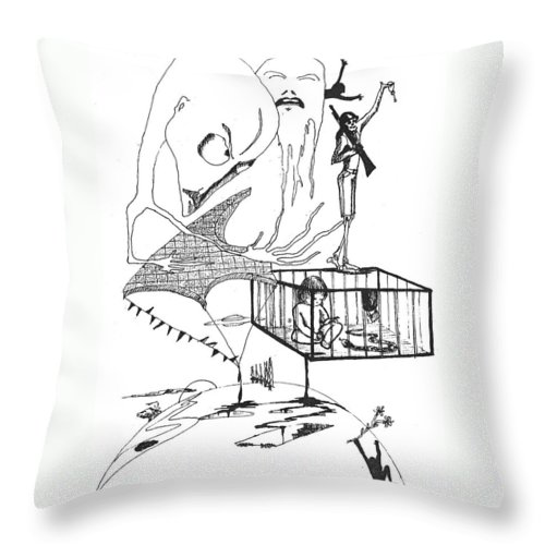 Drawing Pen Automatism Throw Pillow featuring the drawing Automatism by Veronica Jackson