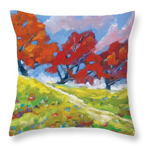 Art Throw Pillow featuring the painting Automn Trees by Richard T Pranke