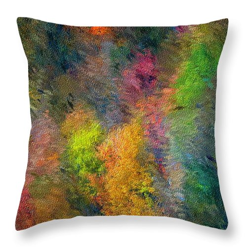 Landscape Throw Pillow featuring the digital art Autum Hillside by David Lane