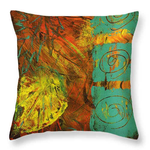 Autumn Throw Pillow featuring the painting Autumen Abstract by Wayne Potrafka