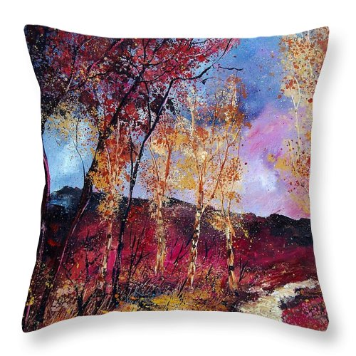 Landscape Throw Pillow featuring the painting Autumn 760808 by Pol Ledent