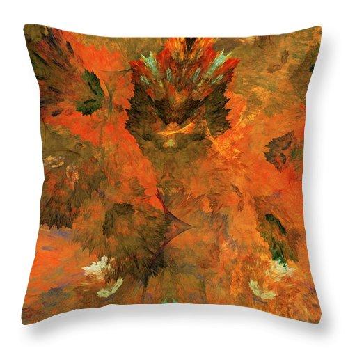 Fine Art Digital Art Throw Pillow featuring the digital art Autumn Abstract 103101 by David Lane
