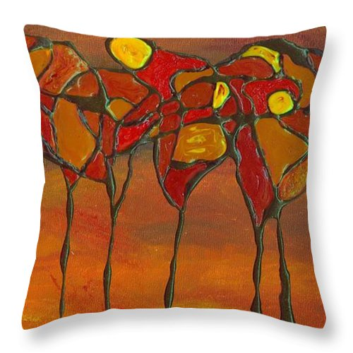 Autumn Throw Pillow featuring the painting Autumn Abstract by Wanda Pepin