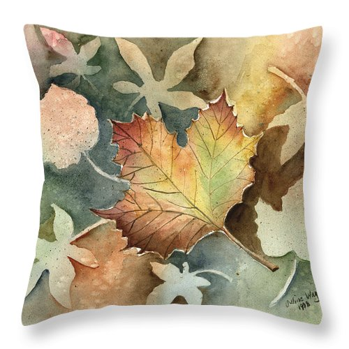 Leaf Throw Pillow featuring the painting Autumn Again by Arline Wagner