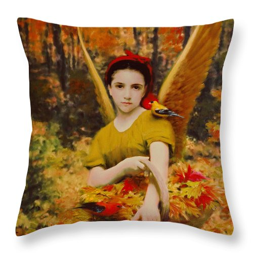 Angel Throw Pillow featuring the painting Autumn Angels by Stephen Lucas