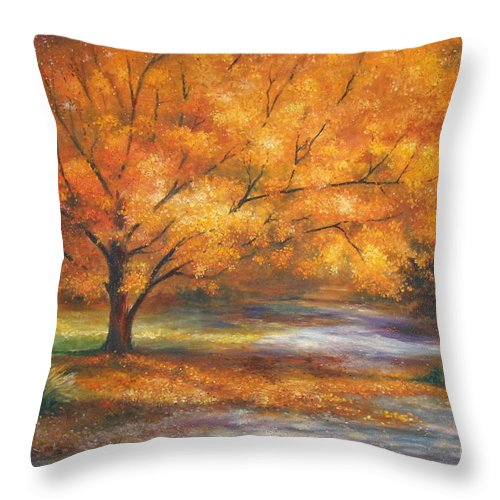 Fall Throw Pillow featuring the painting Autumn by Ann Cockerill