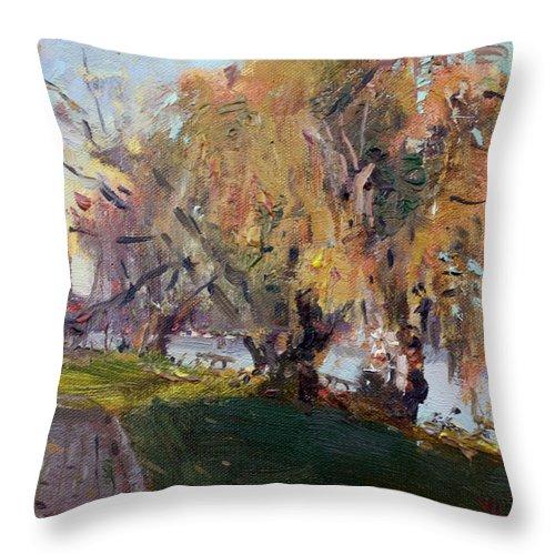 Autumn Chautauqua Lake Throw Pillow featuring the painting Autumn At Chautauqua Lake by Ylli Haruni