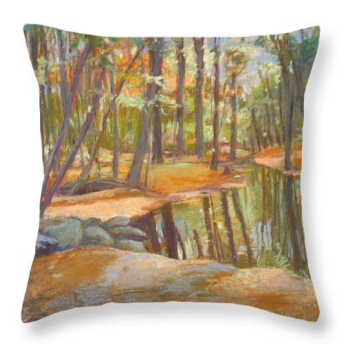 Mcgrath Throw Pillow featuring the painting autumn at Kenoza by Leslie Alfred McGrath