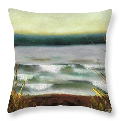 Lake Throw Pillow featuring the painting Autumn At The Lake by Frances Marino