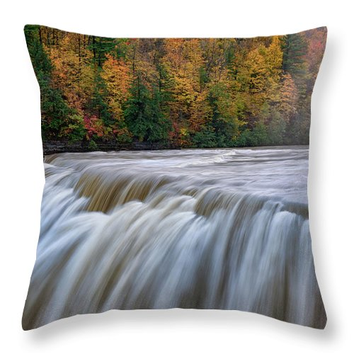 Autumn Throw Pillow featuring the photograph Autumn At The Middle Falls by Rick Berk